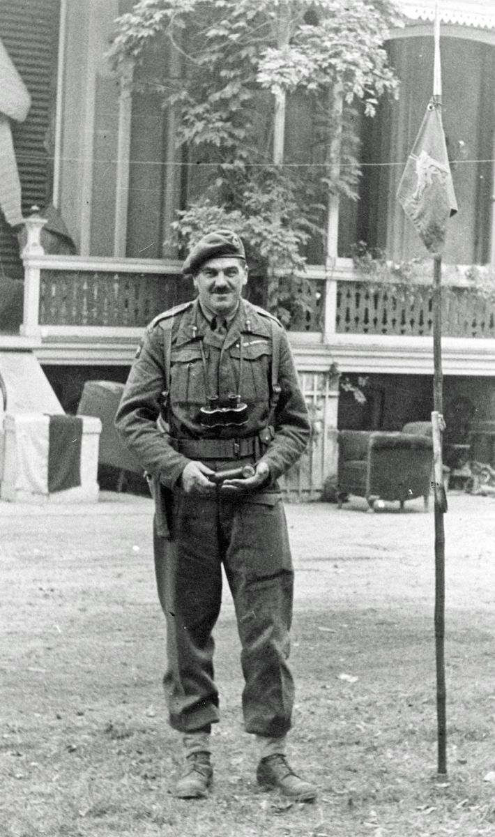 Major General Roy Urquhart outside divisional HQ at Hartenstein Hotel Oosterbeek September 22, 1944